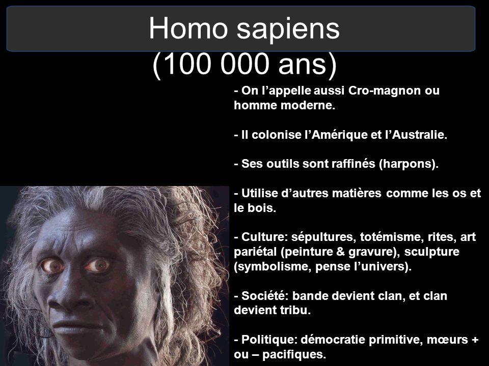 Homo sapiens (100 000 ans) - On l'appelle aussi Cro-magnon ou homme moderne. - Il colonise l'Amérique et l'Australie.