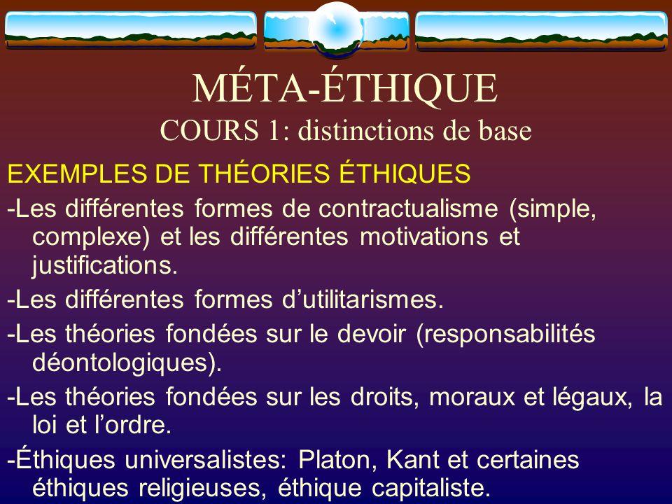 MÉTA-ÉTHIQUE COURS 1: distinctions de base