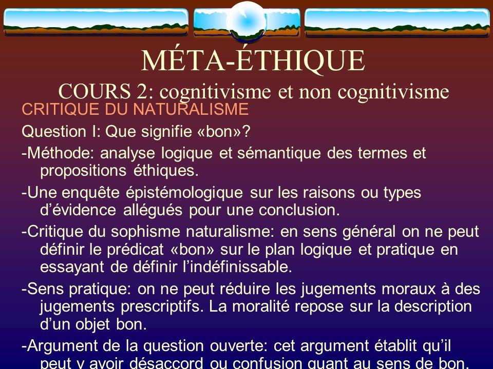 MÉTA-ÉTHIQUE COURS 2: cognitivisme et non cognitivisme