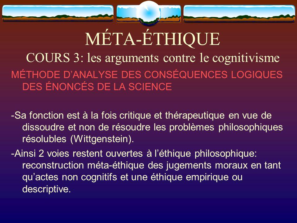 MÉTA-ÉTHIQUE COURS 3: les arguments contre le cognitivisme