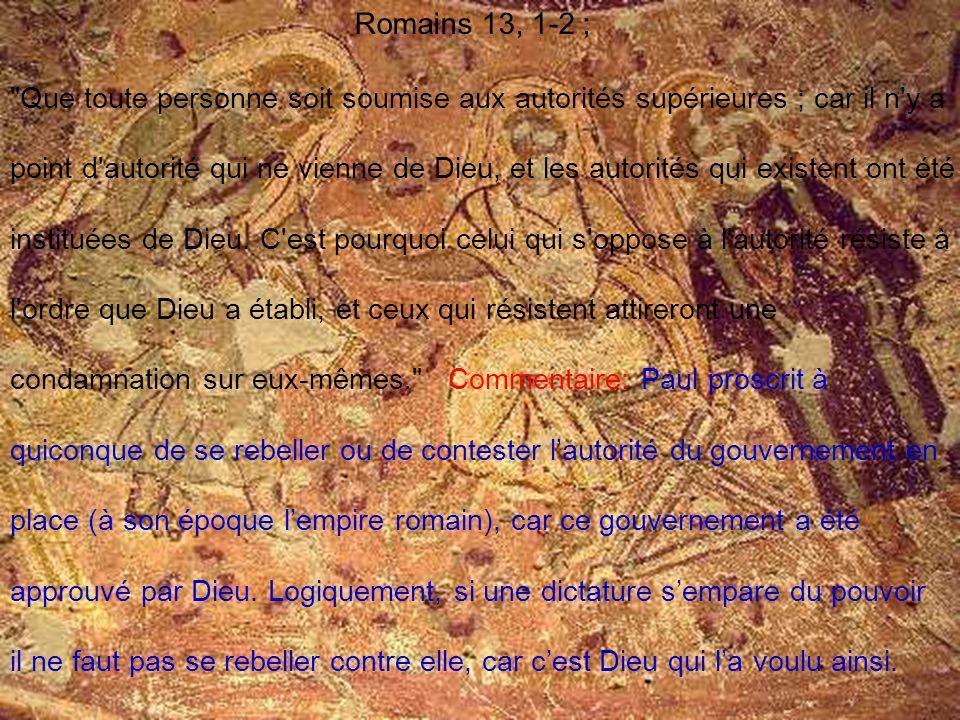 Romains 13, 1-2 ;