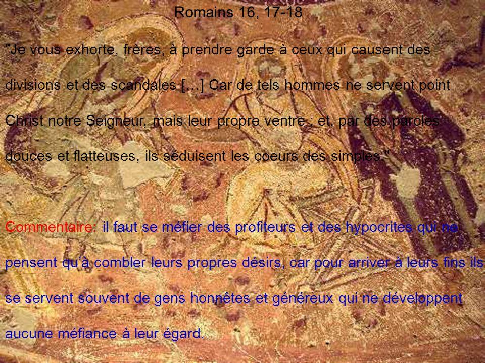 Romains 16, 17-18