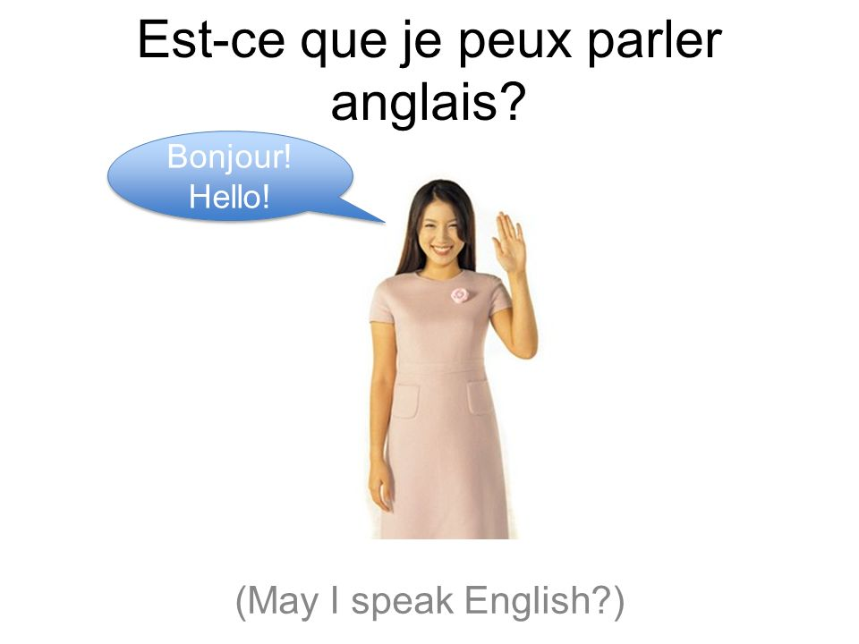 how to say may i speak english in french