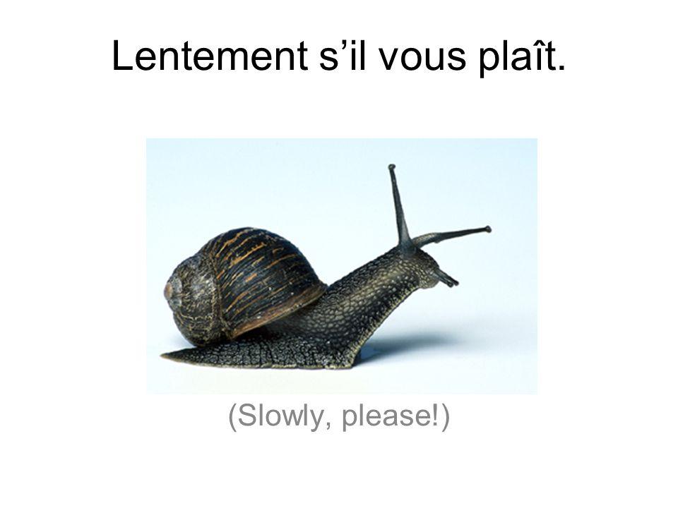 Lentement s'il vous plaît.