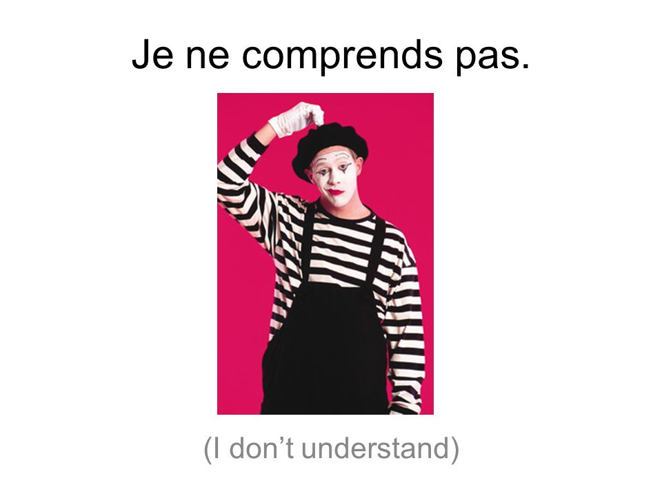 Je ne comprends pas. (I don't understand)
