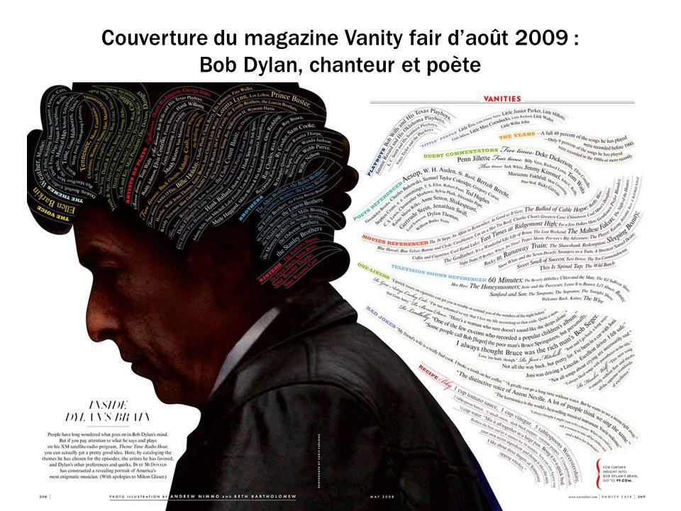 Couverture du magazine Vanity fair d'août 2009 : Bob Dylan, chanteur et poète