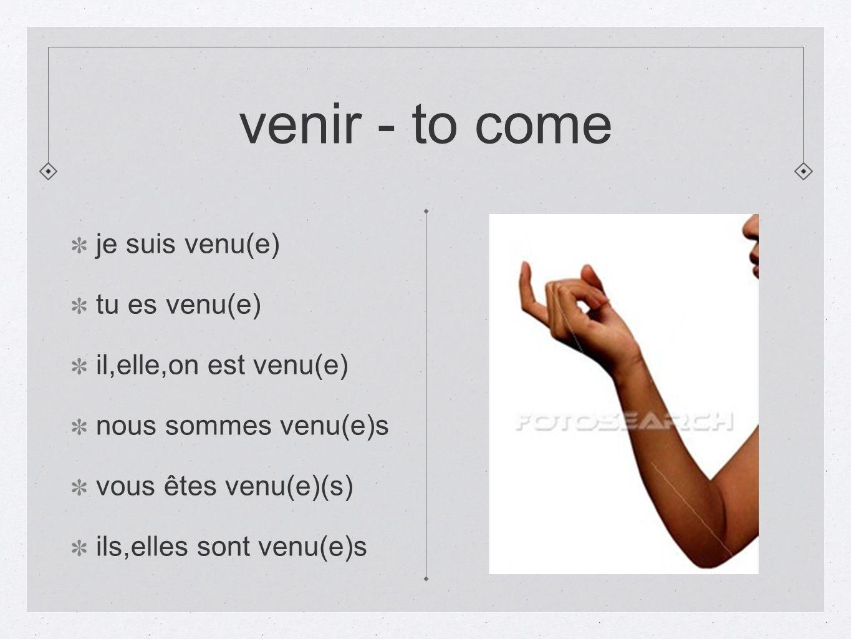 venir - to come je suis venu(e) tu es venu(e) il,elle,on est venu(e)