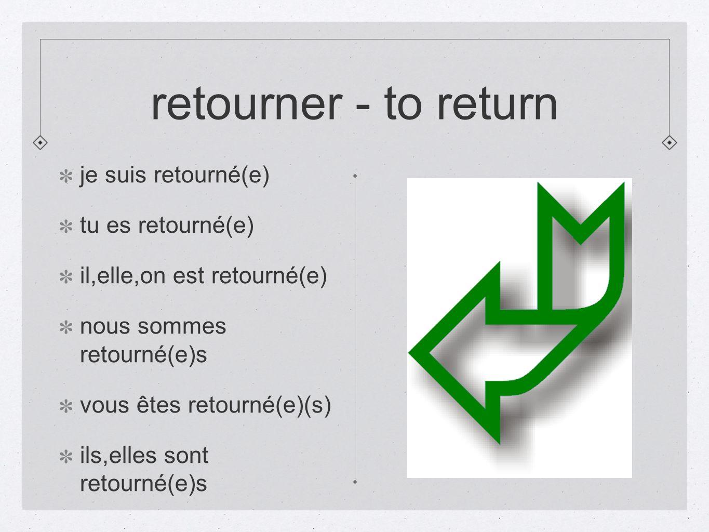 retourner - to return je suis retourné(e) tu es retourné(e)