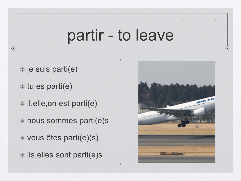 partir - to leave je suis parti(e) tu es parti(e)