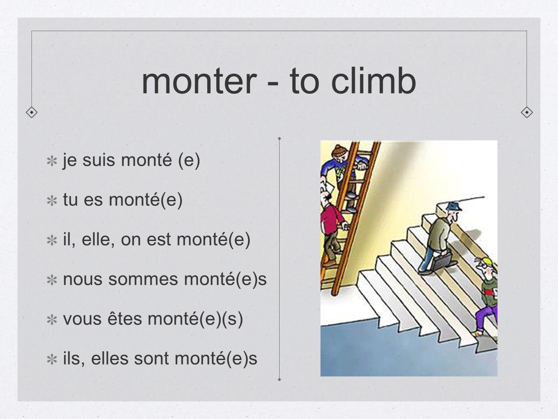 monter - to climb je suis monté (e) tu es monté(e)