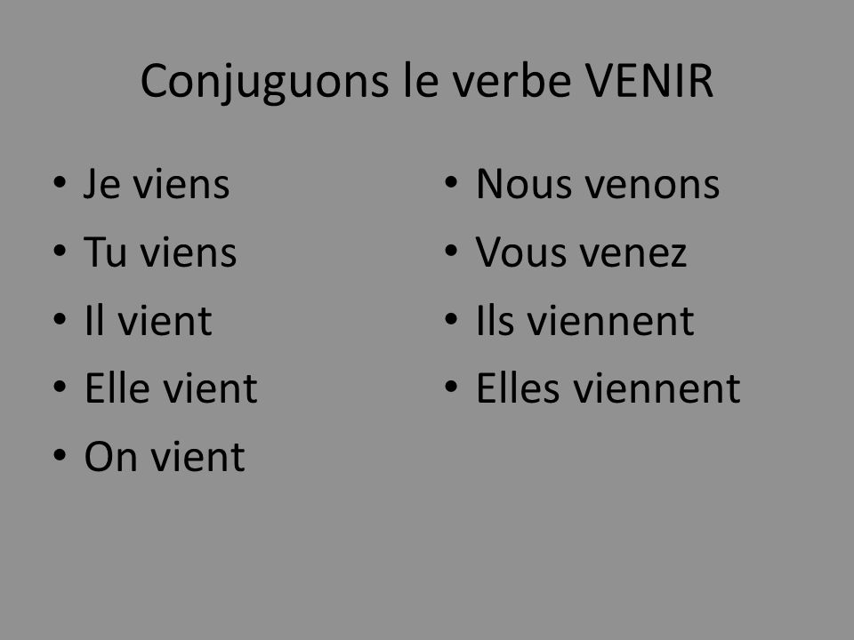 Conjuguons le verbe VENIR