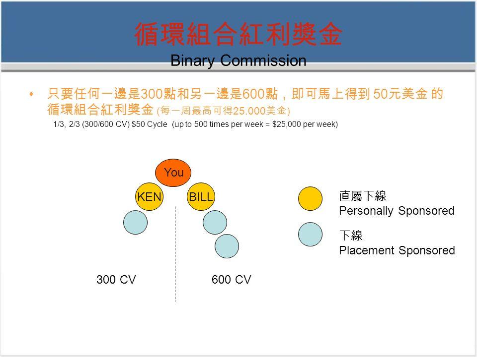 循環組合紅利獎金 Binary Commission