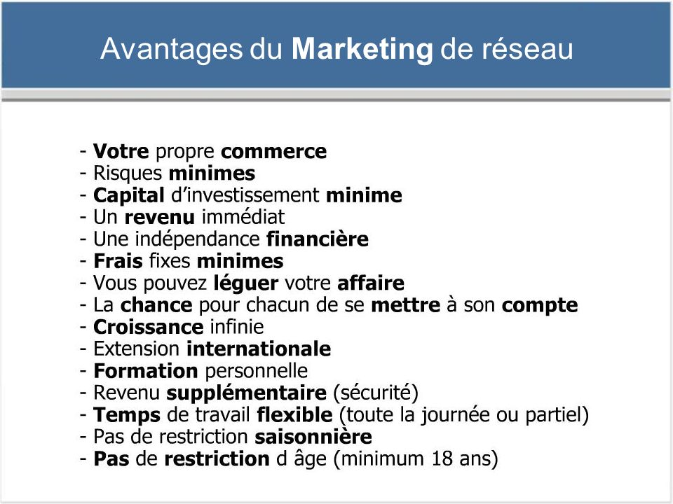 Avantages du Marketing de réseau