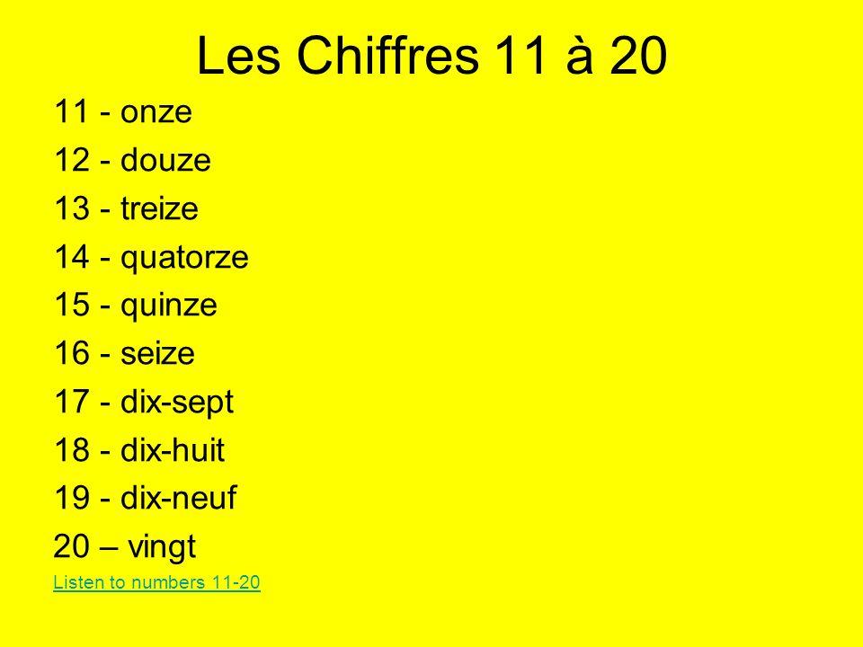 Les Chiffres 11 à 20 11 - onze 12 - douze 13 - treize 14 - quatorze