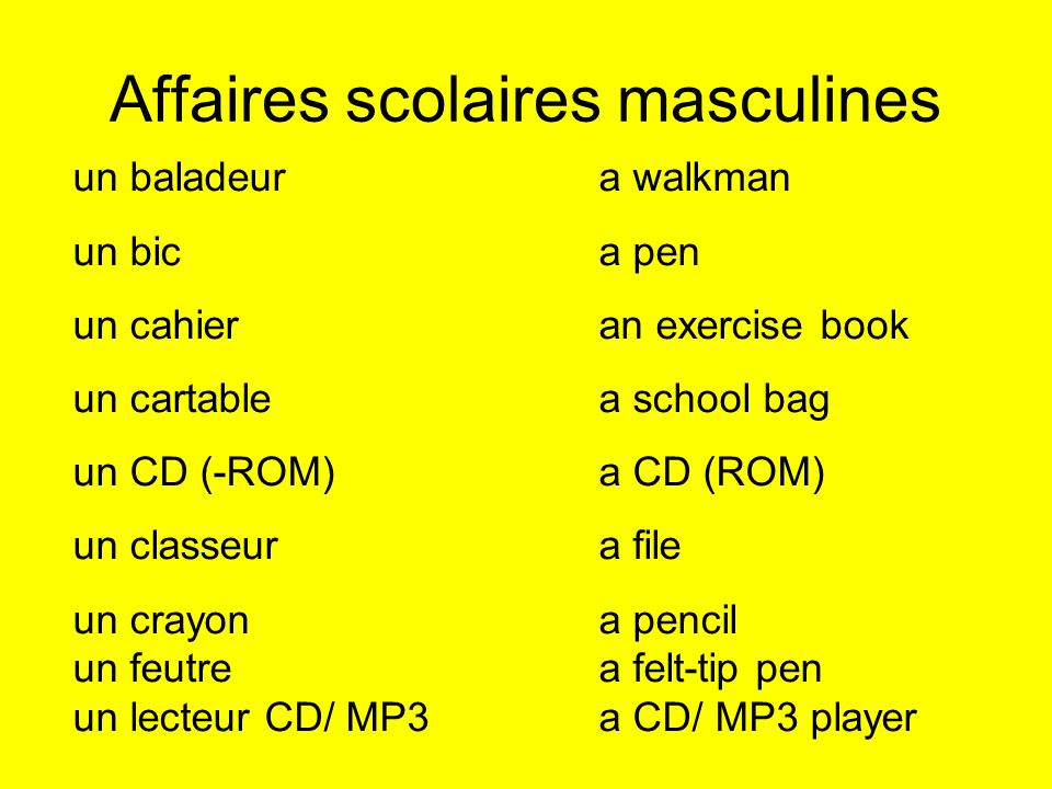 Affaires scolaires masculines