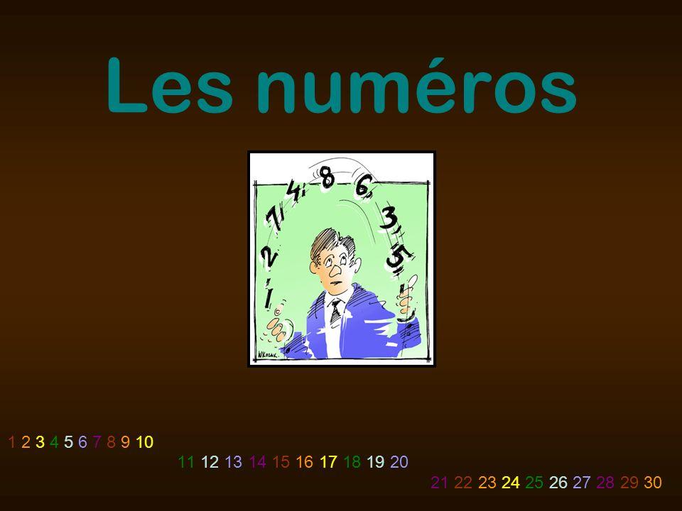 Les numéros 1 2 3 4 5 6 7 8 9 10 11 12 13 14 15 16 17 18 19 20 21 22 23 24 25 26 27 28 29 30