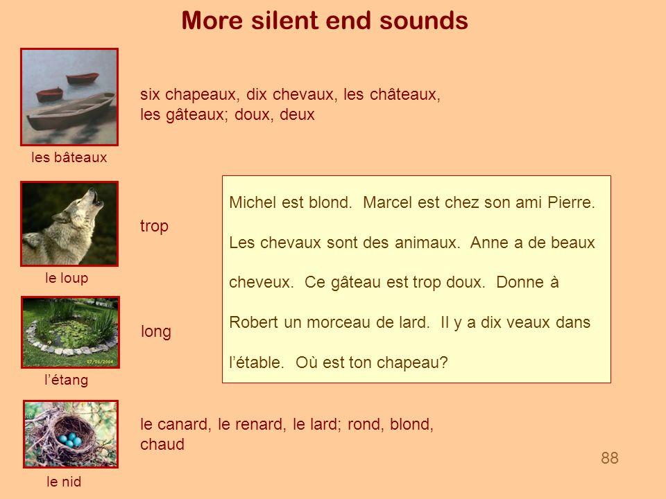 More silent end sounds six chapeaux, dix chevaux, les châteaux, les gâteaux; doux, deux. les bâteaux.