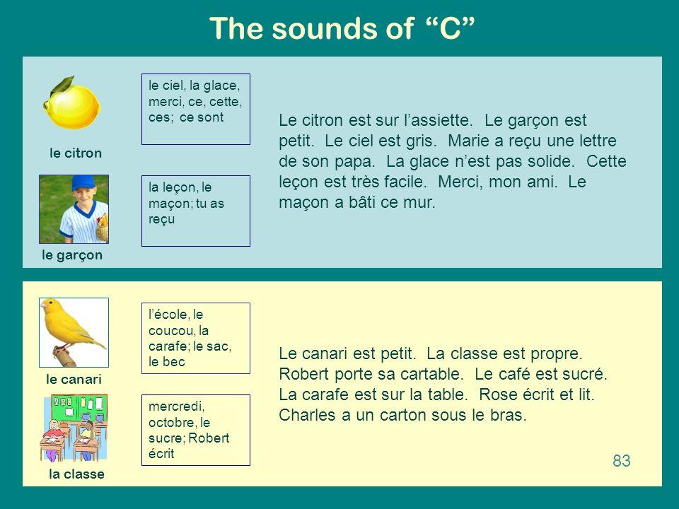 The sounds of C le ciel, la glace, merci, ce, cette, ces; ce sont.