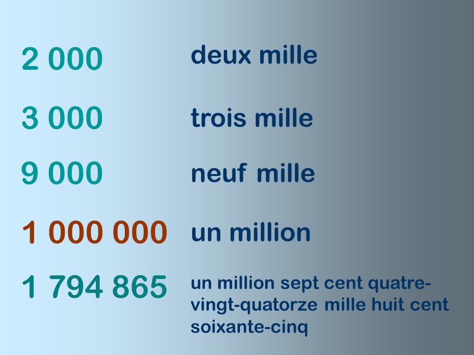2 000 deux mille. 3 000. trois mille. 9 000. neuf mille. 1 000 000. un million. 1 794 865.