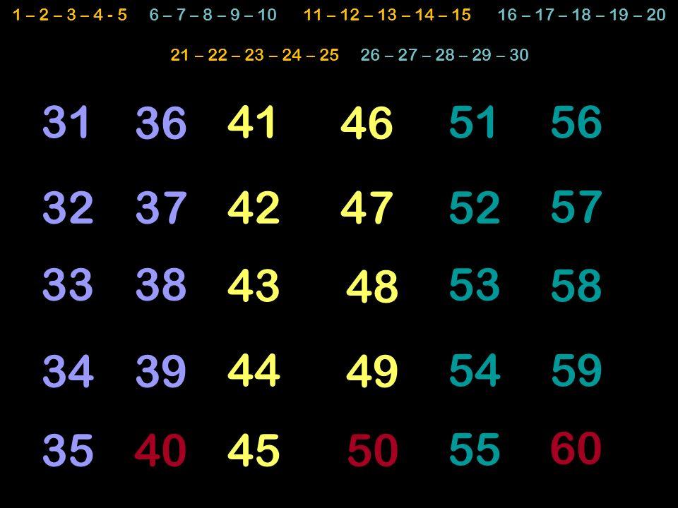 1 – 2 – 3 – 4 - 5 6 – 7 – 8 – 9 – 10 11 – 12 – 13 – 14 – 15 16 – 17 – 18 – 19 – 20 21 – 22 – 23 – 24 – 25 26 – 27 – 28 – 29 – 30.