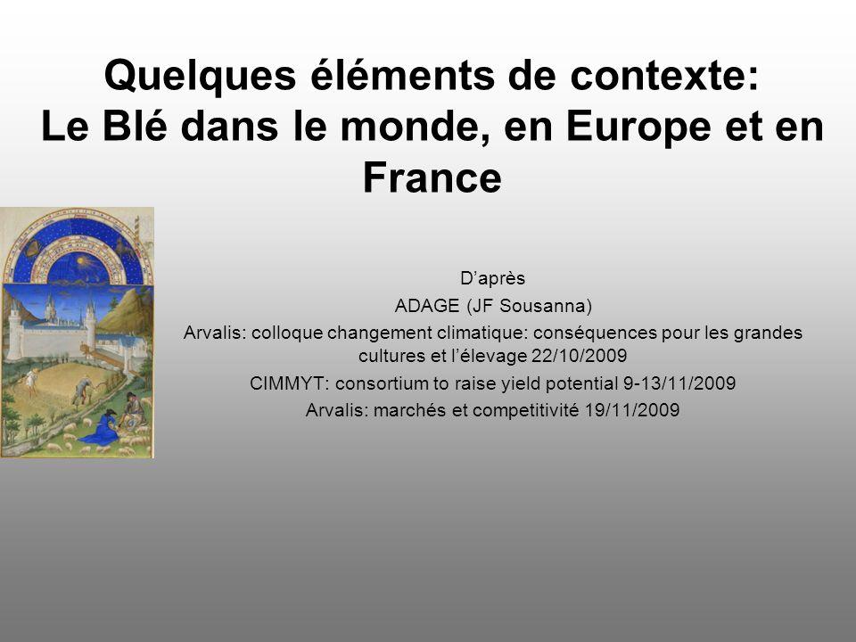 Quelques éléments de contexte: Le Blé dans le monde, en Europe et en France