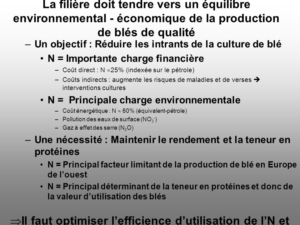La filière doit tendre vers un équilibre environnemental - économique de la production de blés de qualité