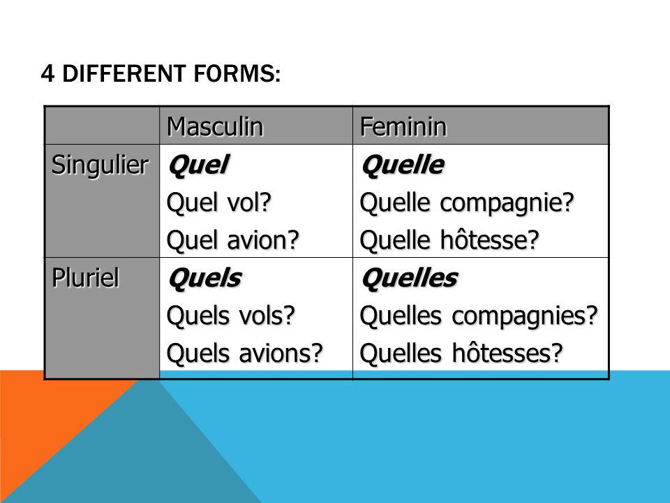4 different forms: Masculin. Feminin. Singulier. Quel. Quel vol Quel avion Quelle. Quelle compagnie
