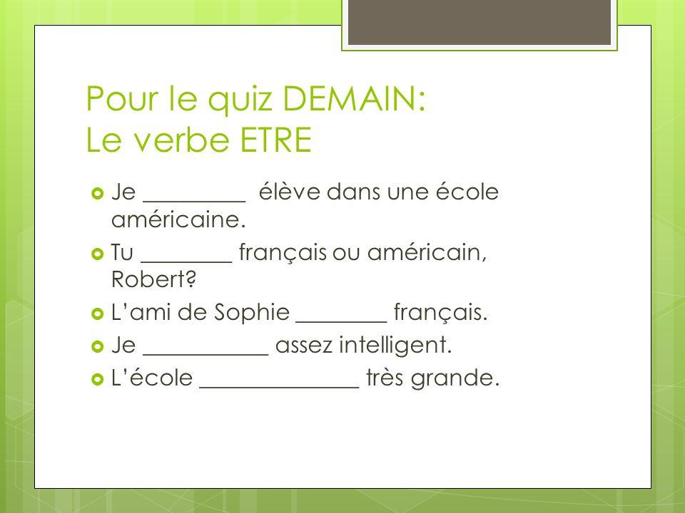 Pour le quiz DEMAIN: Le verbe ETRE