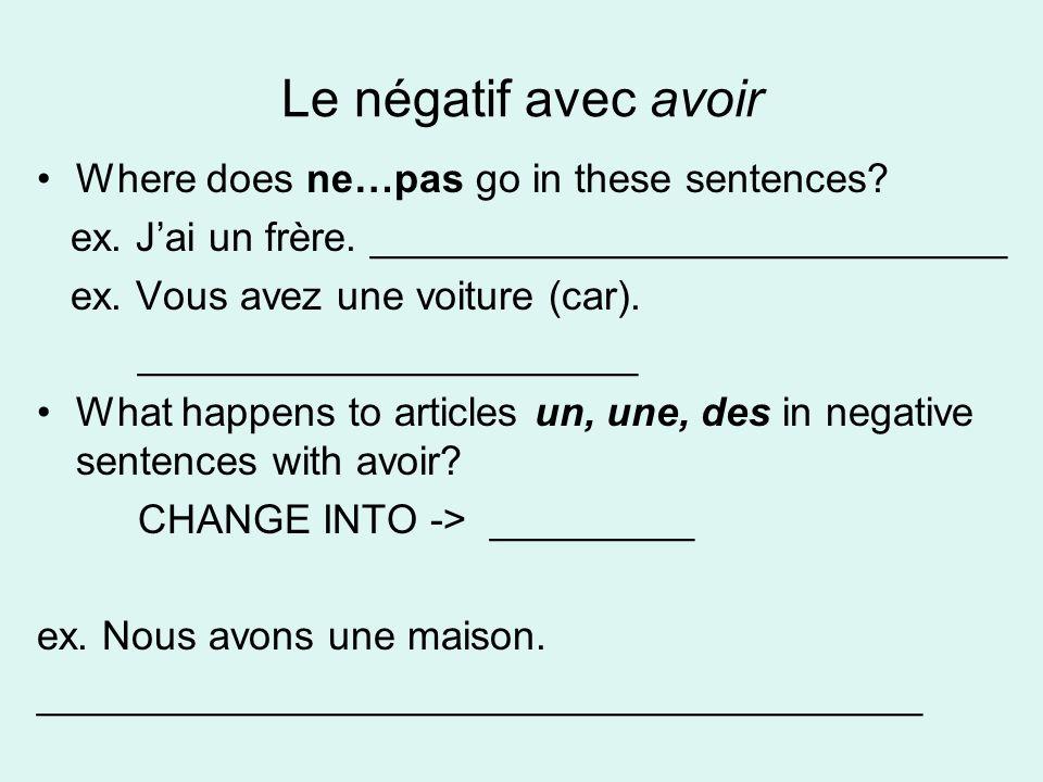 Le négatif avec avoir Where does ne…pas go in these sentences