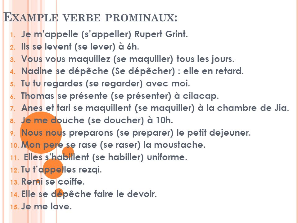 Example verbe prominaux: