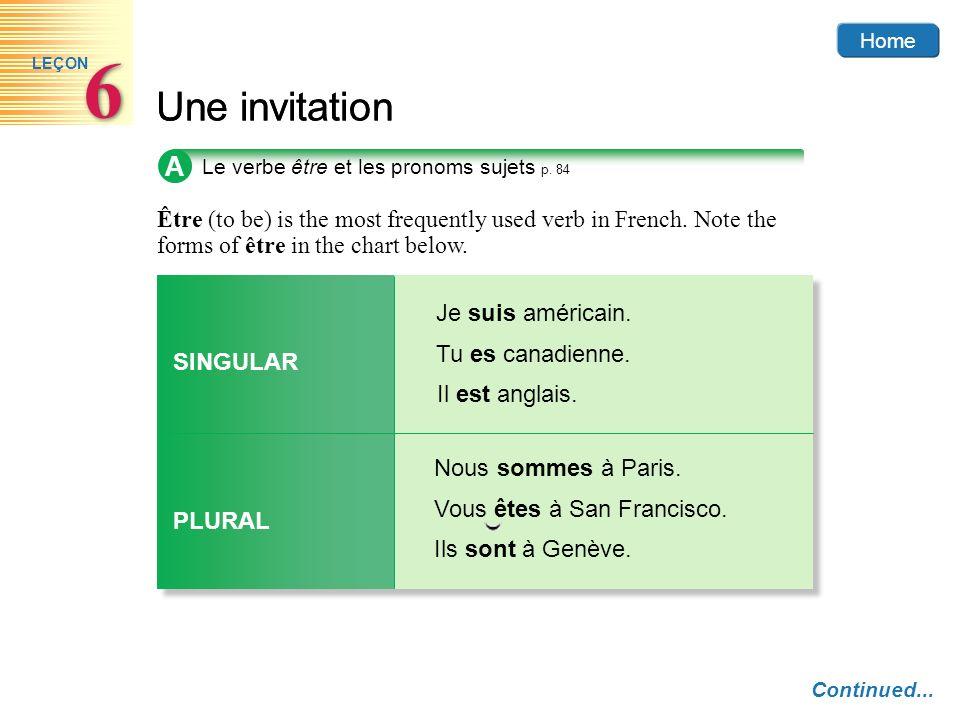 Home 6. LEÇON. Une invitation. A. Le verbe être et les pronoms sujets p. 84.