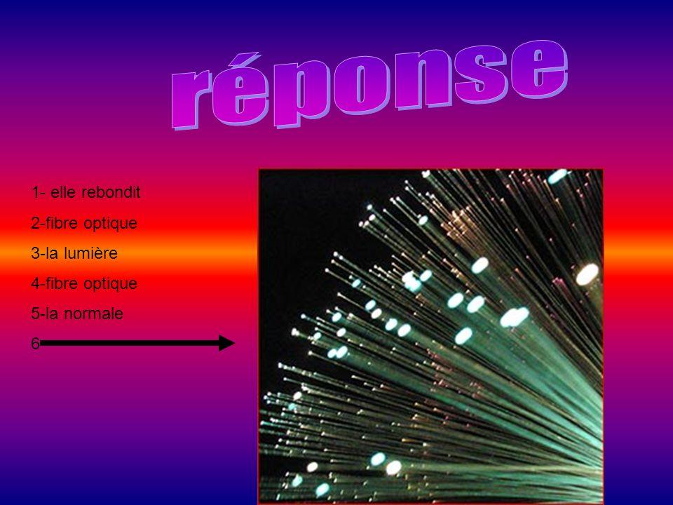 réponse 1- elle rebondit 2-fibre optique 3-la lumière 4-fibre optique