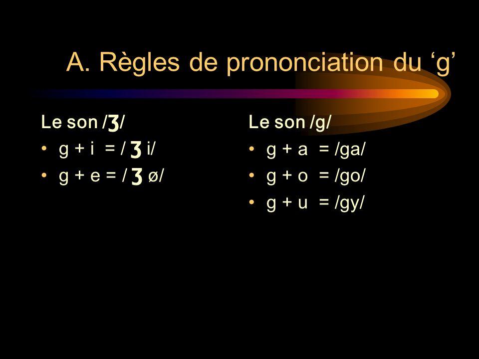 A. Règles de prononciation du 'g'