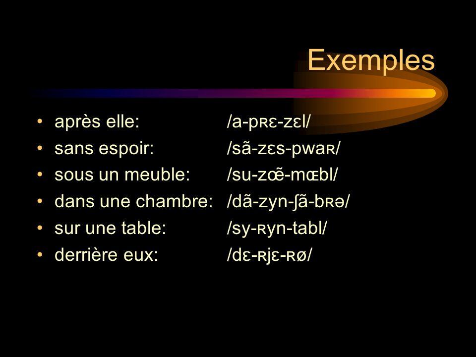 Exemples après elle: /a-pʀɛ-zɛl/ sans espoir: /sã-zɛs-pwaʀ/