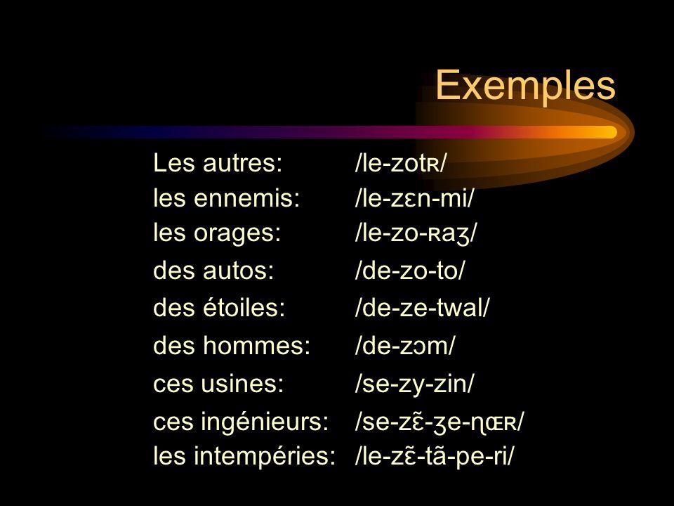 Exemples Les autres: /le-zotʀ/ les ennemis: /le-zɛn-mi/