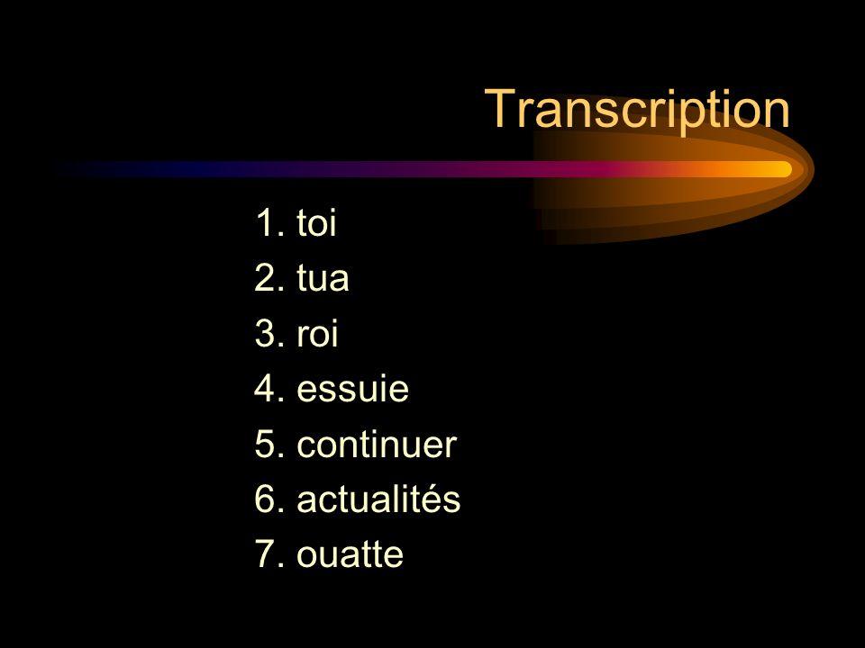 Transcription 1. toi 2. tua 3. roi 4. essuie 5. continuer