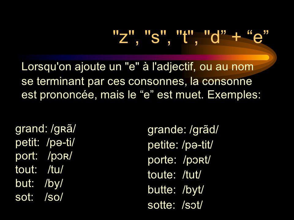 z , s , t , d + e