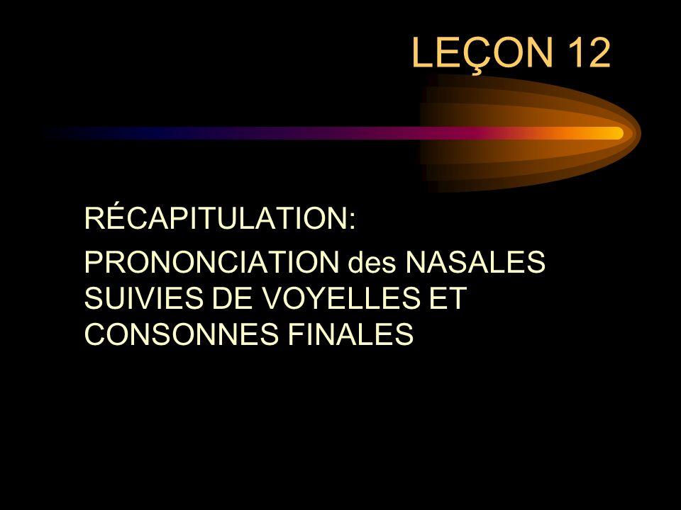 LEÇON 12 RÉCAPITULATION: