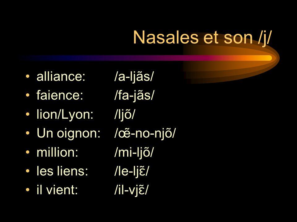 Nasales et son /j/ alliance: /a-ljãs/ faience: /fa-jãs/