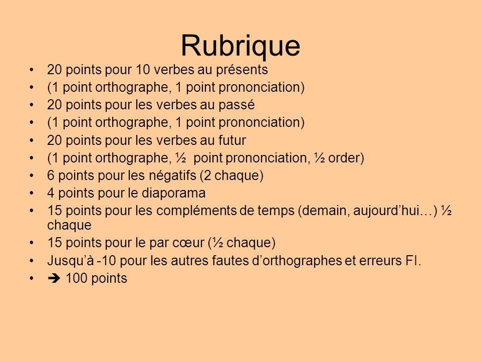 Rubrique 20 points pour 10 verbes au présents