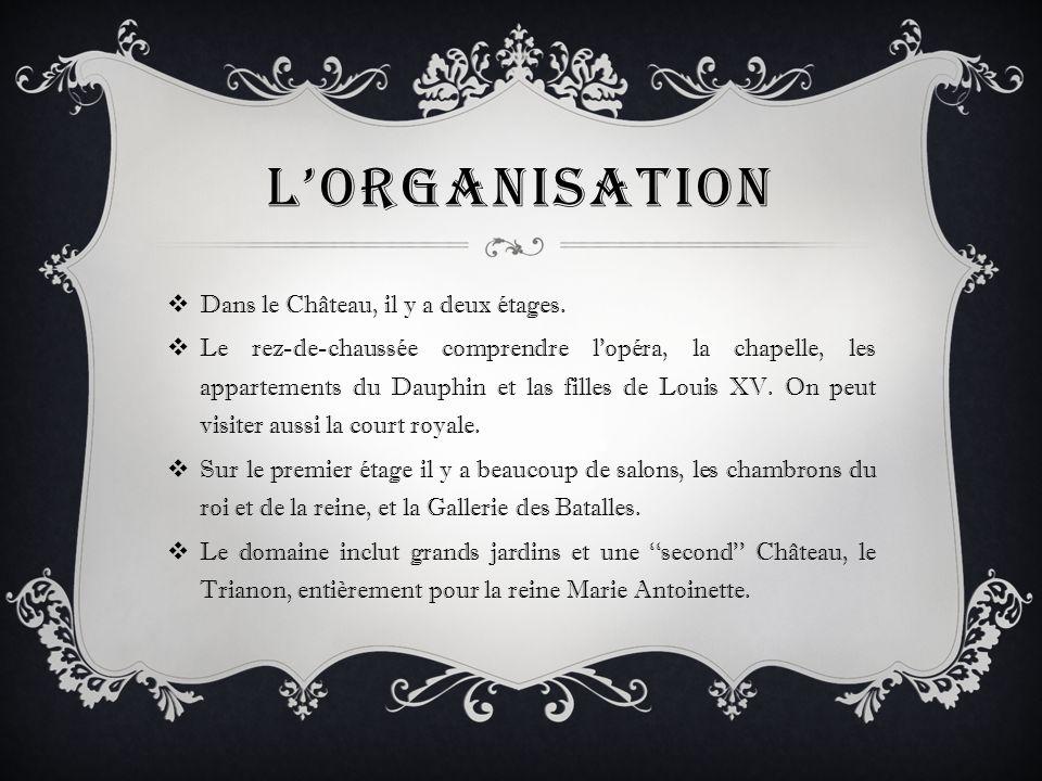 L'organisation Dans le Château, il y a deux étages.