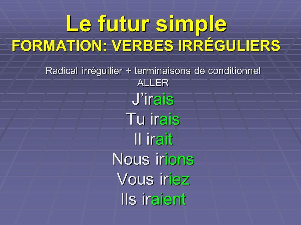 Le futur simple FORMATION: VERBES IRRÉGULIERS