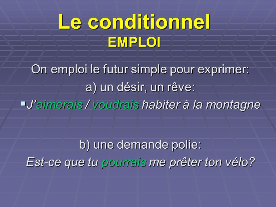 Le conditionnel EMPLOI