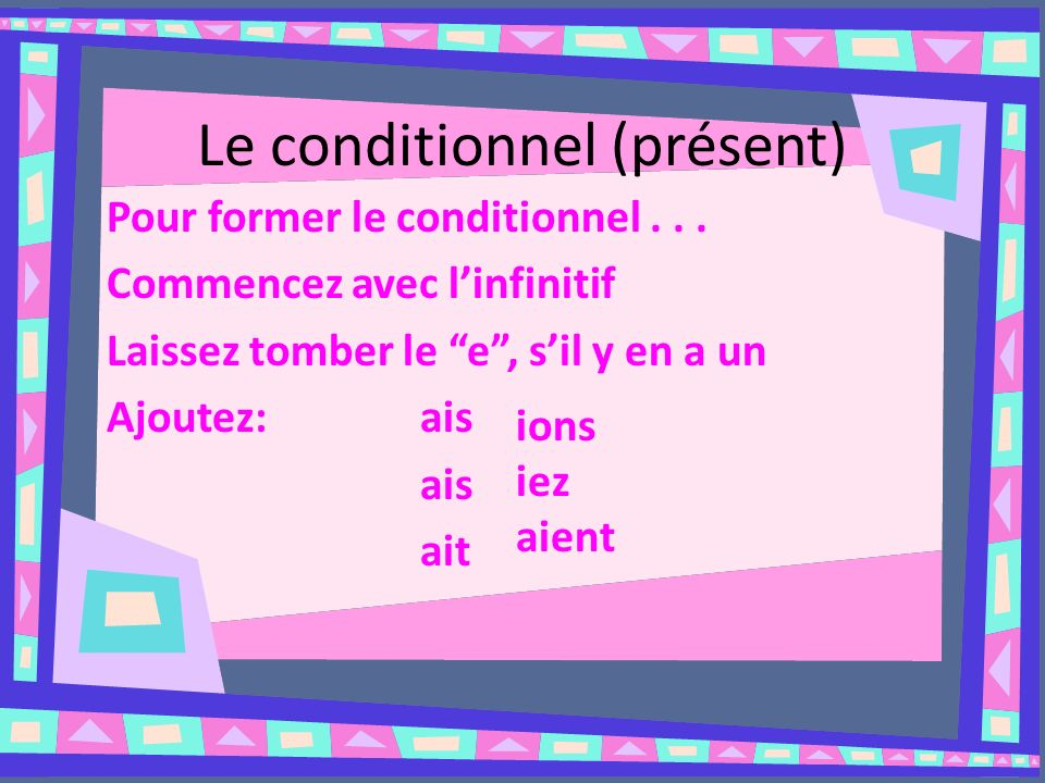 Le conditionnel (présent)
