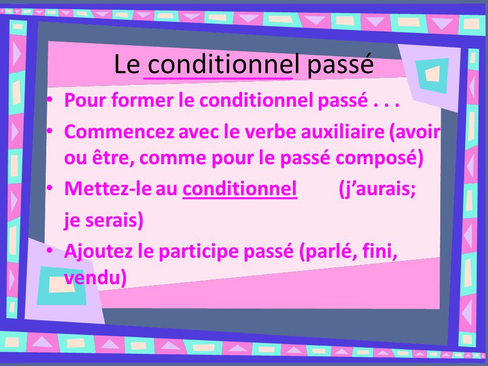 Le conditionnel passé ______________