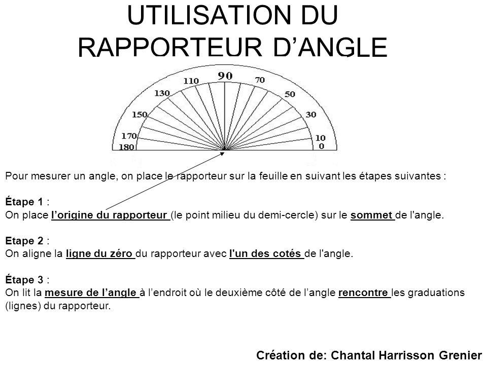 UTILISATION DU RAPPORTEUR D'ANGLE