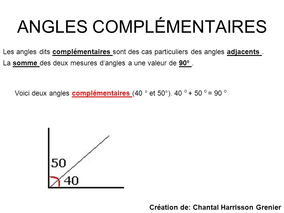 ANGLES COMPLÉMENTAIRES