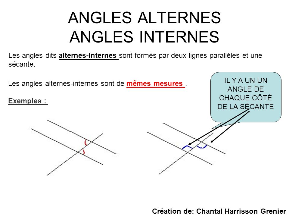 ANGLES ALTERNES ANGLES INTERNES