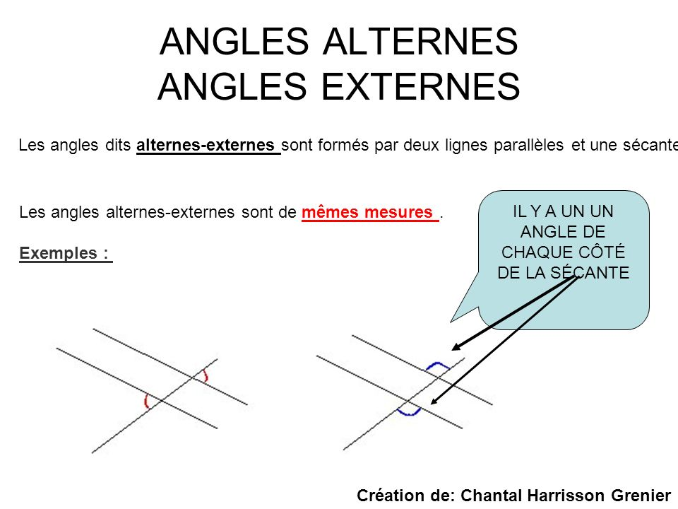 ANGLES ALTERNES ANGLES EXTERNES