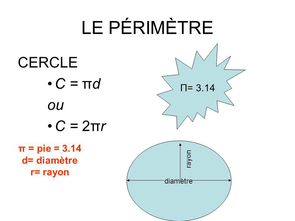 LE PÉRIMÈTRE CERCLE C = πd ou C = 2πr Π= 3.14 π = pie = 3.14